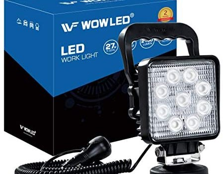 WF LED Light Bar with Magnetic Base, LED Work Light 27W Portable Spot Flood Lamp for Truck, Tractor, Trailer, Car, Boat, Engineering Vehicle