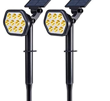 Nekteck Solar Lights Outdoor,10 LED Landscape Spotlights Solar Powered Wall Lights 2-in-1 Wireless Adjustable Security Decoration Lighting for Yard Garden Walkway Porch Pool Driveway,Warm White