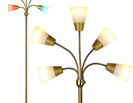 Brightech Medusa Modern LED Floor Lamp – Contemporary Multi Head Standing Reading Lamp for Living Room, Bedroom, Kids Room – Includes 5 LED Bulbs and 5 White & Colored Interchangeable Shades – Brass