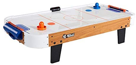 Rally and Roar Tabletop Air Hockey Table, Travel-Size, Lightweight, Plug-in – Mini Air-Powered Hockey Set with 2 Pucks, 2 Pushers, LED Score Tracker – Fun Arcade Games and Accessories