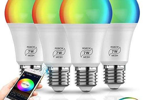 INDARUN Bluetooth Mesh Smart Light Bulb, E26 Dimmable 50 Watt Equivalent (500LM) 5-Channel RGBCW Wireless Smartphone App-Controlled Color Changing LED Bulb for Home Party Holiday Christmas – 4 Pack