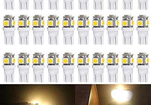ALOPEE – 30-Pack Warm White 194 T10 W5W 168 2825 158 501 5-SMD 5050 Chipsets LED Replacement Bulbs for 12V Car RV Interior Dome Map Door Courtesy Trunk License Plate Clearance Lights Marine light