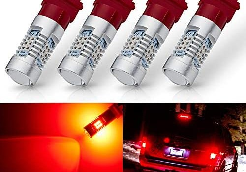 ANTLINE Extremely Bright 3157 3156 3156A 3057 4057 4157 3057LL 3457 3157K 21-SMD 1260 Lumens LED Bulb Replacement Brilliant Red for Car Brake Tail Turn Signal Blinker Lights Bulbs (Pack of 4)