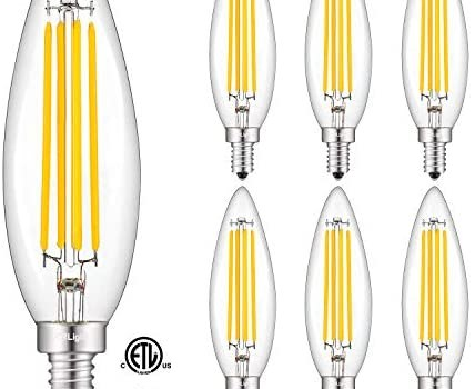 CRLight 8W Smooth Dimming Version Dimmable LED Candelabra Bulb 80W Equivalent 800LM, 2700K Warm White E12 Base, Upgraded Lengthened & Enlarged B11 Clear Candle LED Filament Chandelier Bulbs, 6 Pack