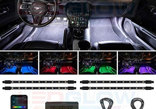 LEDGlow 4pc Bluetooth Multi-Color LED Interior Footwell Underdash Neon Lighting Kit for Cars & Trucks – Smartphone App – Create Any Color – Courtesy Lights – Music Mode – Control Box – Universal