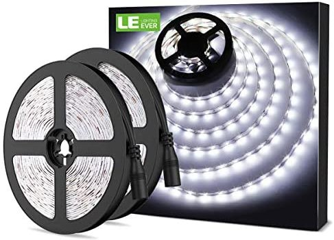 LE 12V LED Strip Light, Flexible, SMD 2835, 300 LEDs, 16.4ft Tape Light for Home, Kitchen, Party, Christmas and More, Non-Waterproof, Daylight White, Pack of 2(Not Include Power Adapter)