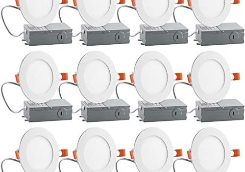 12PK 4 inch Slim LED Recessed Lighting Downlight, Dimmable,9W (65W Equivalent), 5000K Daylight White, 600Lm, ETL Listed, Retrofit Recessed Lights Fixture, LED Ceiling Light, 12 Pack