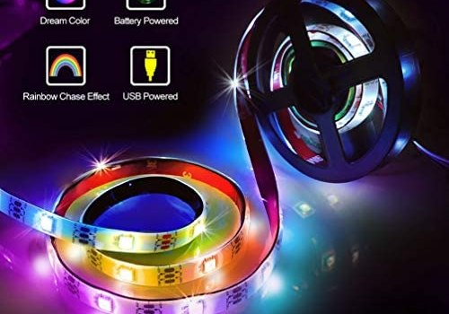 Chasing Effect Led Strip Lights, Battery Powered Waterproof RGBW Neon Dreaming Rainbow Color Flexible Rope Light Strip USB Powered TV Backlight for DIY Home Decoration (2m/6.56feet)