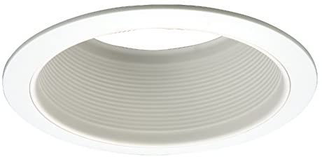 HALO 6101WB 6″ White Straight-Side Metal Baffle Recessed Trim with 2 White Rings, Narrow and Wide, White