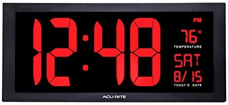 """AcuRite 75100 Large 18"""" Digital LED Wall Clock with Date, Temperature and Fold-Out Stand, Inch, Red"""