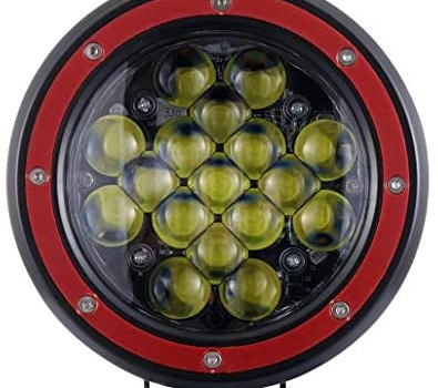 Z-OFFROAD 1PC Red 5 Inch Round LED Offroad Light 51W 5100lm Spot Drving Fog Lamp Off Road Pod Lights LED Work Light Bar for Car Trucks Tractor SUV ATV Jeep