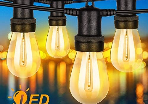 Outdoor String Lights, 48FT Waterproof LED Light String 15 Hanging Sockets Edison Vintage Bulbs 2700K Soft White Light String Heavy-Duty Decorative Patio Lights for Backyard Bistro Cafe Party