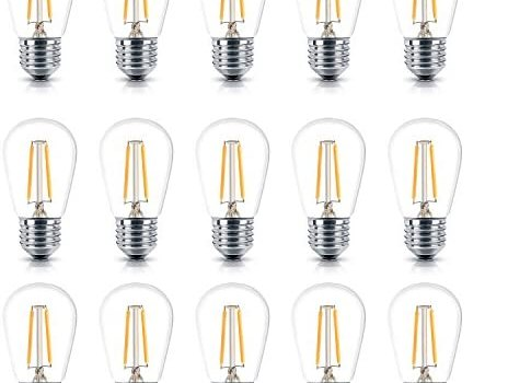 Brightech – Ambience PRO LED S14 Energy Efficient 1 Watt Bulb – 1 Watt – Use to Replace High-Heat, High-Cost Incandescent Bulbs in Outdoor String Lights – Edison-Inspired Exposed Filaments – 15 Pack