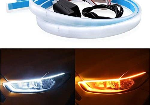 LED Headlight Strip Tube Light DIBMS 60cm 24 Inch Flexible Dual Color White & Amber Yellow Daytime Running Light Waterproof DRL Neon Lights Turn Signal Bulb Sequential Switchback 2-pack