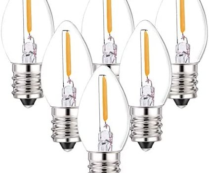 C7 LED Bulbs,0.5 Watts LED Filament Night Light Bulb Edison Style LED Sign Light E12 Candelabra Base Lamp Clear Glass 4 Watts Equal Candle Bulbs Warm White 2700K for String Lights Pack of 6