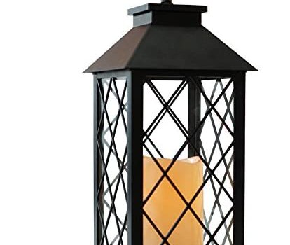 Bright Zeal 14″ Vintage Candle Lantern with LED Flickering Flameless Candle (Black, 6hr Timer) – Tabletop Lantern Decorative Outdoor – Candle Lantern Battery Operated – Hanging Lantern for Gazebo BZX