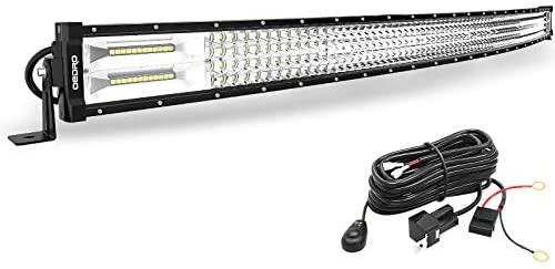 LED Light Bar Curved with Wiring Harness Quad-Row 52In 1525W oEdRo Spot Flood Combo Led Lights Work Lights Fog Driving Light Off Road Light 12/24V Fit for Pickup Jeep SUV 4WD 4X4 ATV UTE TruckTractor