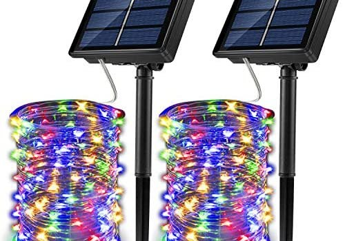 JosMega Upgraded Solar Powered String Fairy Lights 2 Pack 33 ft 100 LED 8 Modes Waterproof IP65 Twinkle Lighting Indoor Outdoor Fairy Firefly Lights Auto ON/Off (2 Pack 33 ft 100 LED, Multicolor)