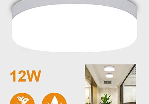 DLLT 12W LED Closet Ceiling Light Fixtures-IP44 Waterproof Round Flush Mount Ceiling Light Surface Mounted Lighting for Porch, Corridor, Hallway, Stairwell, Wet Location Laundry Room 5000K Cool White