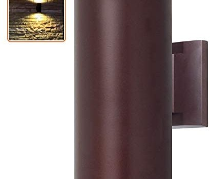 Outdoor Wall Lamp, ZUUKOLE Exterior Lighting – ETL Listed, Die-Casting Aluminum Waterproof Wall Mount Cylinder Design – Up Down Light Fixture for Porch, Backyard and Patio (Brown)