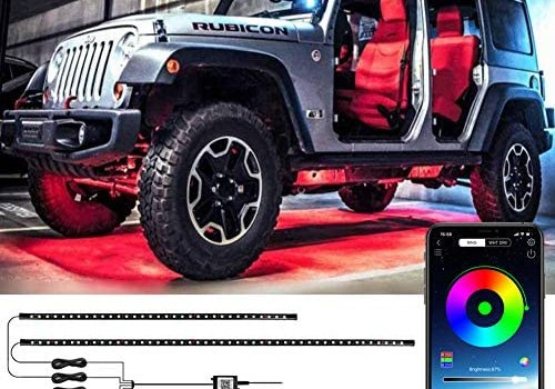 LEDCARE Car Underglow Lights, Exterior Car LED Strip Lights 16 Million Colors Neon Accent Lights Kit,Under Lights for Car Sync to Music and Wireless APP Control,DC 12-24V(2×47inch+2×35inch)