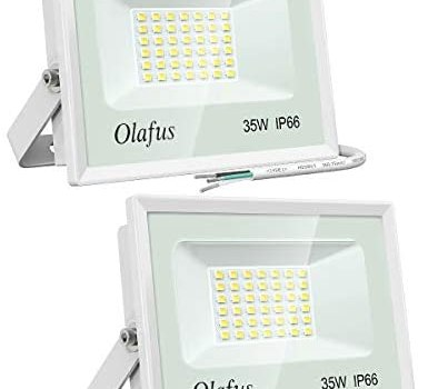 Olafus 2 Pack 35W LED Flood Light Outdoor, IP66 Waterproof Outside Security Lights, 3800LM Ultra Bright Floodlight, 5000K Daylight White Exterior Lighting for Patio, Backyard, Garden, Porch, Yard
