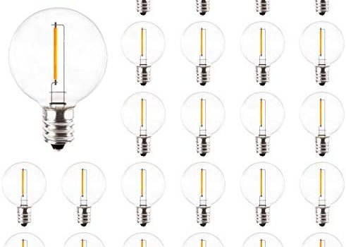 25 Pack Bomcosy G40 Outdoor Globe Replacement Bulbs, E12 Screw Base Dimmable LED Clear Bulb for Patio String Lights, 1Outdoor Globe String Lights Replacement Bulbs,E12 Screw Base Vintage Plastic Bulbs