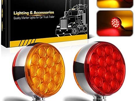 Partsam 2pc 3″ Round Double Face Red/Amber 30 LED Pedestal Fender Lights Turn Signal Chrome Miro-Reflex Sealed Replacement for Volvo/Kenworth/Peterbilt/Freightliner/Western Star Trucks Semi Trailers