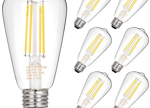 Hykolity Dimmable Vintage LED Edison Bulbs, 7.5W, Equivalent 60W, 800lm, Bright Daylight White 4000K, ST58 Antique LED Filament Bulbs, E26 Medium Base, Clear Glass, Pack of 6