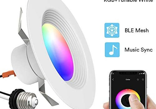 iLintek 5/6 inch Smart Recessed Downlight Bluetooth RGBWW Can Lights Music Sync Simple Retrofit Installation 9W(80W Equivalent) 1100LM (5/6 in BLE Mesh- 1 Pack)