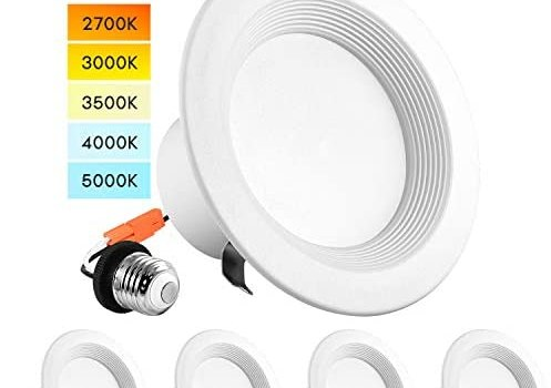 Luxrite 4 Inch LED Recessed Can Lights, Color Temperature Selectable 2700K | 3000K | 3500K | 4000K | 5000K, Dimmable Retrofit Downlights, 750 Lumens, Energy Star, Wet Rated, Baffle Trim (4 Pack)