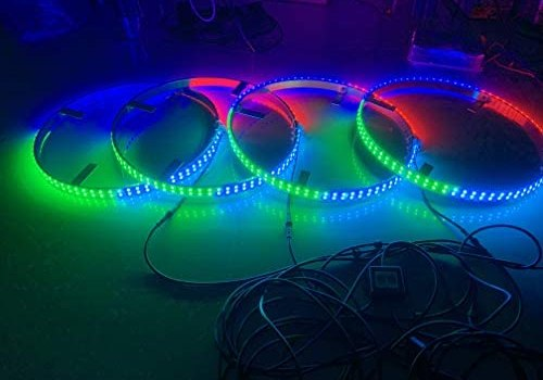 """Sando Tech 17.5"""" Dream Chasing Color Flow IP68 Waterproof Double Row 300Leds Brightest Strobe Led Wheel Ring Lights Rim Lights Car Tire Lights Blue-Tooth APP Control Multi-Colors – 4 Lights"""