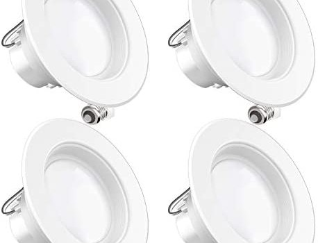 Sunco Lighting 4 Pack 4 Inch LED Recessed Downlight, Baffle Trim, Dimmable, 11W=40W, 2700K Soft White, 660 LM, Damp Rated, Simple Retrofit Installation – UL + Energy Star