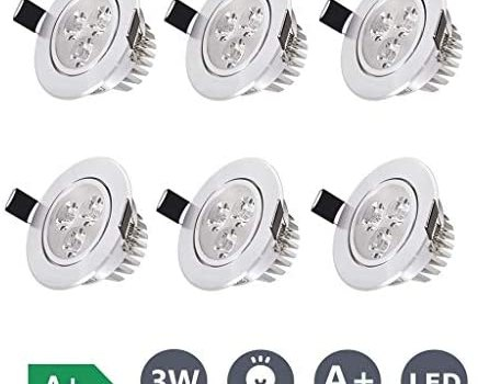 JJSFT 10 Pack,3W LED Ceiling Light Downlight,Warm White 3000k Spotlight Lamp Recessed Lighting Fixture Aluminum Cut Out 55-60mm for Living Room Bedroom Kitchen (Color : 6 Pack, Size : Warm Light)