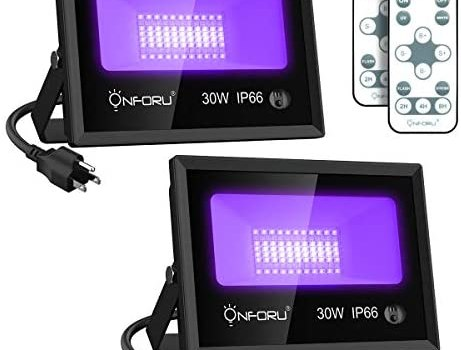 Onforu 2 Pack 30W LED Black Light, Black Light Flood Light with Remote, Daylight White, Timing, IP66 Waterproof Outdoor Blacklight for Glow in The Dark, Dance Party, Stage, Fluorescent Poster, Garden