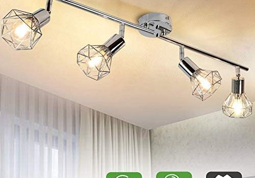 DLLT 4 Lights Track Lighting Kit-4 Way Modern Flush Mount Ceiling & Wall Decorative Lamp with Adjustable Head, Directional Spot Lighting Fixture for Kitchen Bedroom Living Room, E12 (Bulb Included)