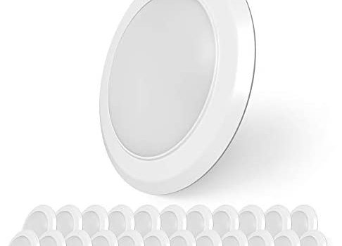 SunLake Lighting 24 Pack 6 Inch Flush Mount Disk LED Downlight, 15W=100W, 1050 LM, Dimmable, 2700K Soft White, Hardwire 5/6″ Junction Box-Can compatible, Recessed Retrofit Ceiling Fixture (Soft White)