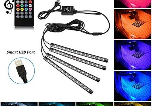 Car LED Strip Light, 4pcs 48 LED Multicolor Music Car Interior Atmosphere Lights with Sound Active Function and Wireless Remote Control for Car TV Home, DC 5V -Smart USB Port