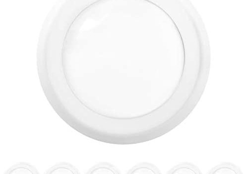Sunco Lighting 6 Pack 5 Inch / 6 Inch Flush Mount Disk LED Downlight, 15W=100W, 4000K Cool White, 1050LM, Dimmable, Hardwire 4/6″ Junction Box, Recessed Retrofit Ceiling Fixture