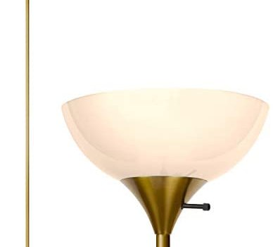 Brightech Sky Dome – Very Bright LED Torchiere Floor Lamp for Living Rooms & Offices– Dimmable Modern Standing Lamp – Tall Pole Light for Bedrooms – LED Bulb Included – Brass, Gold