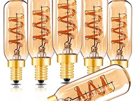 Dimmable T6 Led Bulb Genixgreen Candelabra Led 2200K Amber Glass 150lm 3W E12 T25 Eye Protection Led Filament Bulb CRI 90+ Edison Bulb Equivalent 25W Decorative Lights Bulb for Home Bedroom Pack of 6