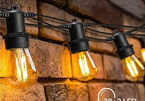 OxyLED LED Outdoor String Lights with 40 Dimmable Vintage Plastic Bulbs, 128 Ft Hanging Bulb String Lights Waterproof, Garden String Lights for Bedroom Patio Yard Wedding Party Christmas, Warm White