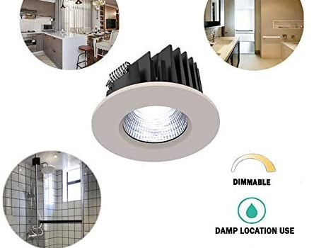 Dimmable Recessed Ceiling Down Light for Wet Location,with Junction Box,Specially Fixture Lighting for Bathroom, Shower Room, Kitchen-3 Inches-8W COB LED(4000k (Daylight Glow))