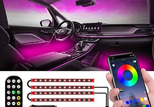 MESTRIVE Interior Car Lights with Contro Box, Upgraded 2-in-1 Design Interior Car LED Lights, Remote & APP control, 48 LEDs Lighting Kit Sync to Music suitable for Various Cars, Multi DIY Color DC 12V