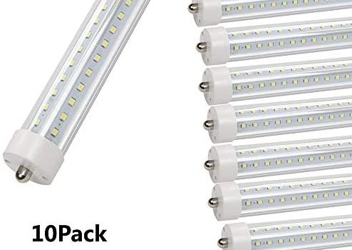 GOCuces T8 LED Cooler Door Tube Light,45w AC110V FA8 Single Pin, Dual-End Powered,Ballast Bypass,Double Row 270 Degree Clear Lens 6500K LED Bulbs to Replace F60T12 Fluorescent Light Fixture -10Pack