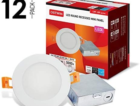 OSTWIN 6 Inch Ultra-Thin LED Recessed Ceiling Light with J-Box, 5000K Daylight,15W (80 Watt Repl) Dimmable Can-Killer Downlight, IC Rated 1125LM High Brightness (12 Pack) ETL and Energy Star Certified