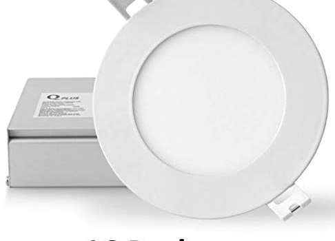 QPLUS 4 Inch Ultra Thin Pot Lights, 10W, 750 lumens, ETL, Energy Star, CSA Approved, Damp Location Thin Recessed LED Lighting Kit, Dimmable, Type IC Rated (4000K Cool White, 16 Pack)