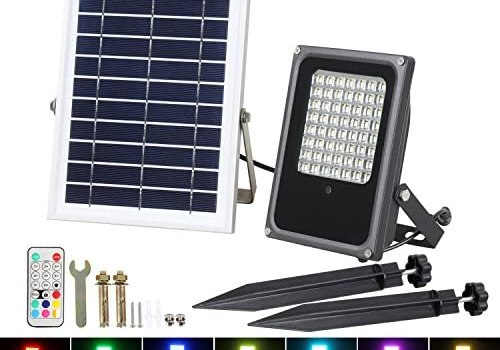 Solar RGB Flood Lights, T-SUN 50W 56 LED Color Changing Outdoor Security Floodlight Wall Light Waterproof IP65 Spotlight with Remote Control for Garden, Patio, Yard, Pool, Garage