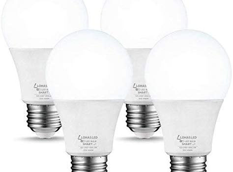 LOHAS Smart LED Light Bulb, A19 Daylight 5000K Dimmable LED Bulb, 50W Equivalent 8W WiFi Light Bulb E26 Base, 720LM APP Control, No Hub Required, Compatible with Amazon Alexa, Google Home, 4 Pack