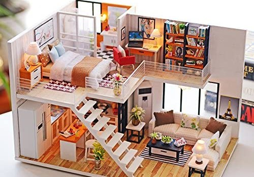 WYD DIY Loft Apartments Wooden Dollhouse Miniature Dolls House LED Lights Assembly Kit 3D Puzzle Crafts Toy Creative Children Birthday Gifts